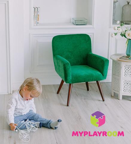 Детское мягкое кресло в стиле 60-х, изумрудный 8