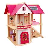 Деревянный кукольный домик с мебелью 1