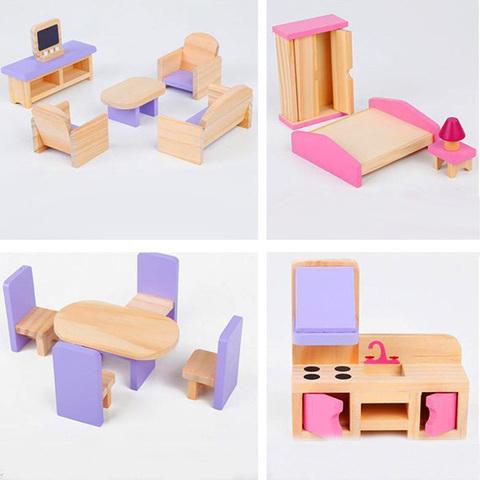 Деревянный кукольный домик с мебелью 3