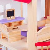 Деревянный кукольный домик с мебелью 4