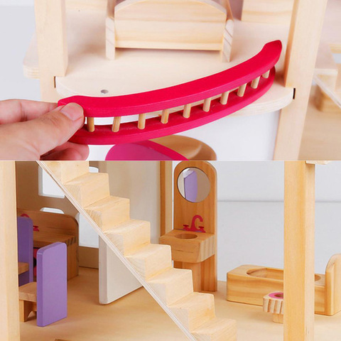 Деревянный кукольный домик с мебелью 5