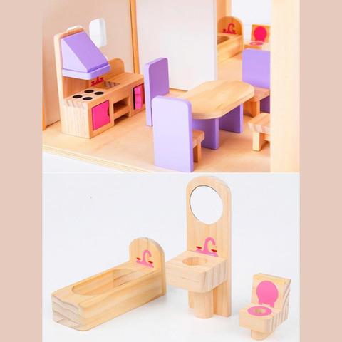 Деревянный кукольный домик с мебелью 7