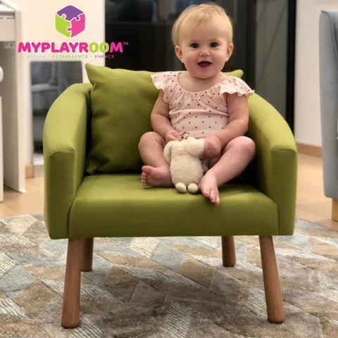 Детское мягкое кресло, оливковое 6