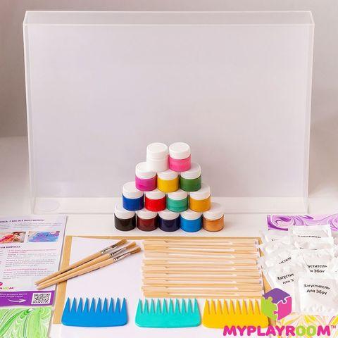 "Набор для рисования Эбру ""ПРЕМИУМ"", 15 цветов формат А3"