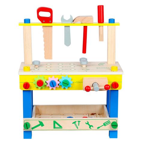 Детский деревянный верстак на ножках с тисками и инструментами 2