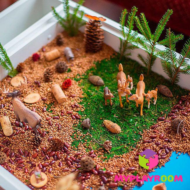 Небольшой зоопарк в домашней песочнице myplayroom
