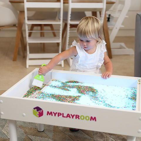Световая песочница для LEGO от MYPLAYROOM™ с короткой столешницей 7в1 (открытый пенал) 9