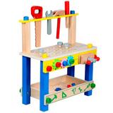 Детский деревянный верстак на ножках с тисками и инструментами 1