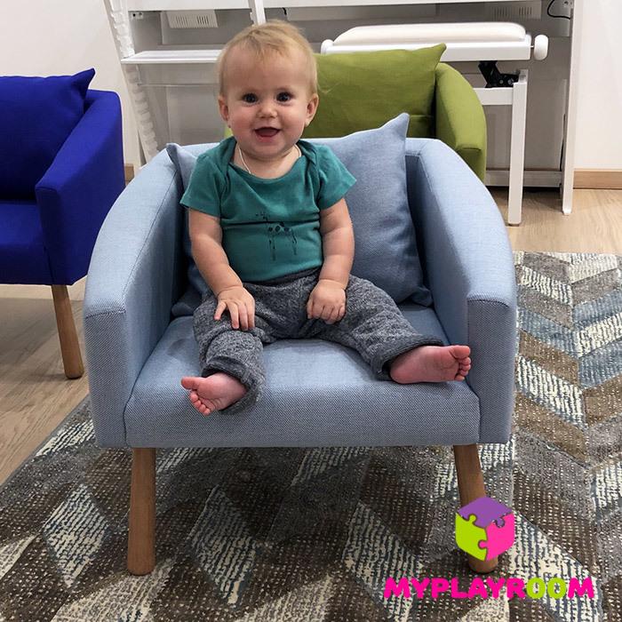 Детское мягкое кресло, голубое
