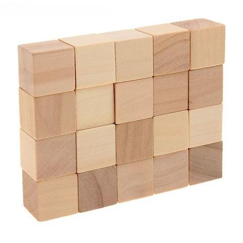 Набор кубиков натуральный цвет, 20 шт