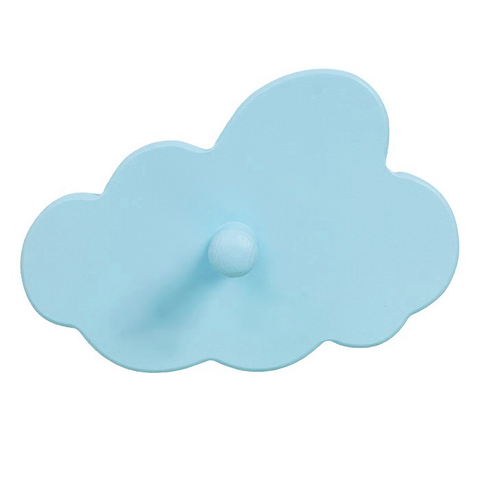 "Деревянный крючок-вешалка ""Облачко"", голубая"