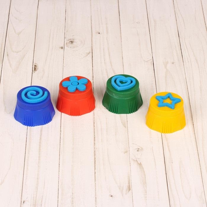 Пальчиковые краски со штампиками, 4 шт