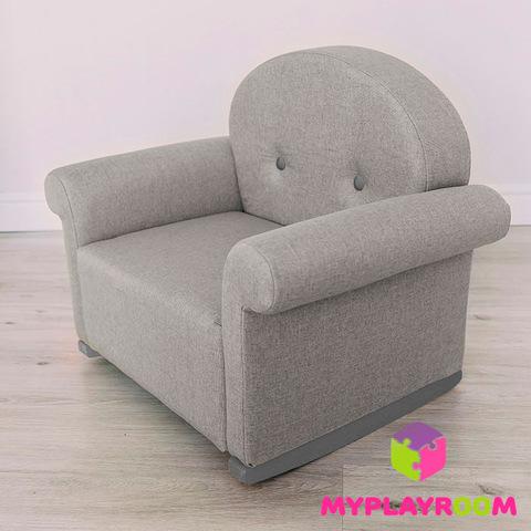 Детское мягкое кресло-качалка (мини-диванчик) серое
