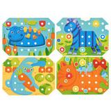 Деревянная мозаика-шнуровка, 6 карточек 5