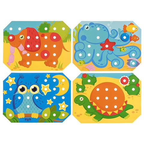 Деревянная мозаика-шнуровка, 6 карточек 6