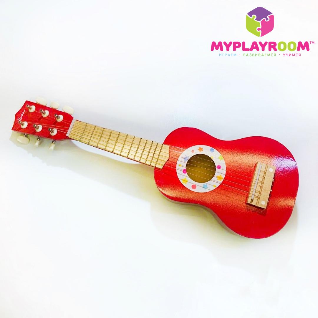 Детская деревянная настоящая гитара укулеле для музыкальных игр