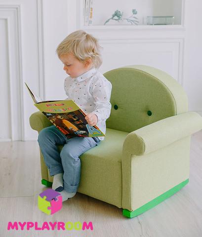 Детское мягкое кресло-качалка (мини-диванчик), Лайм 3