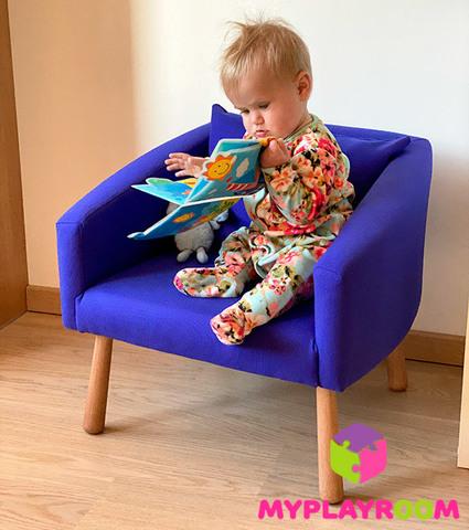 Детское мягкое кресло, синее 2
