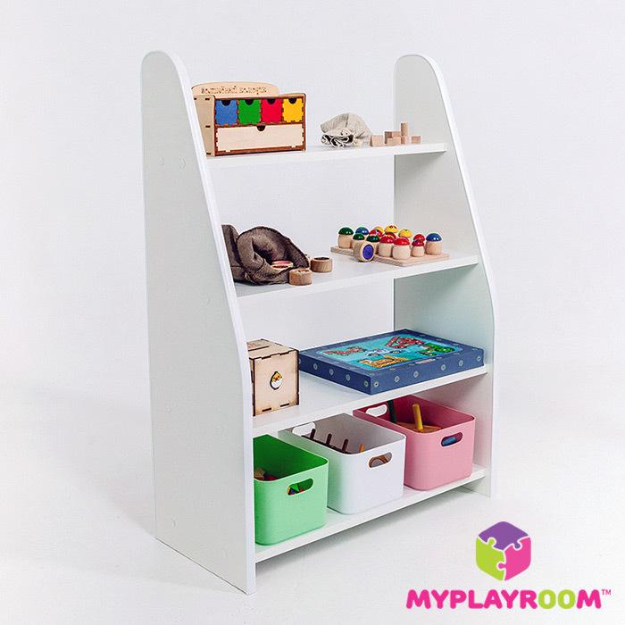 Открытый стеллаж для материалов и игр в детскую