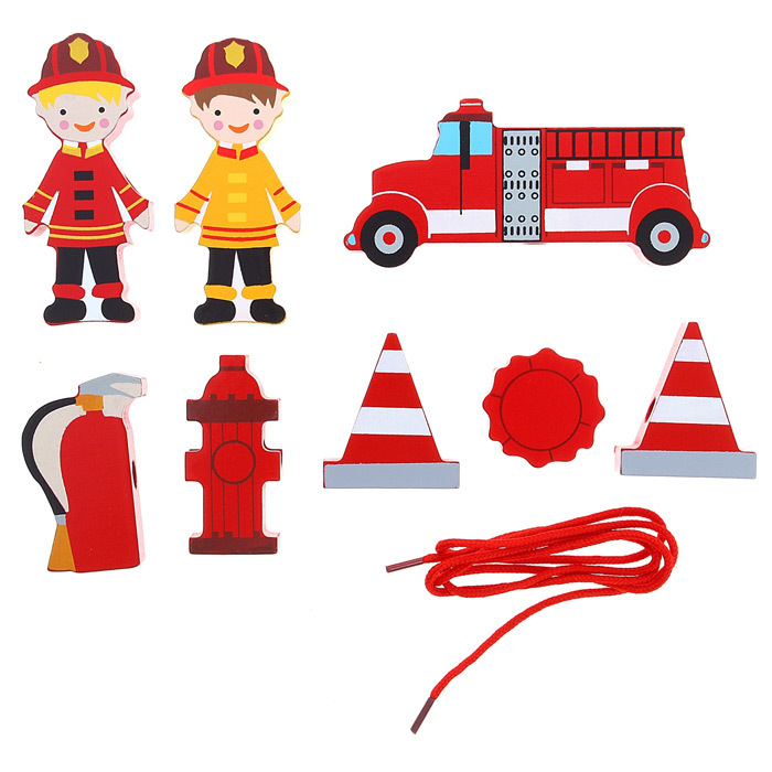 Развивающая деревянная шнуровка Пожарная команда состоит из 9 элементов и верёвки