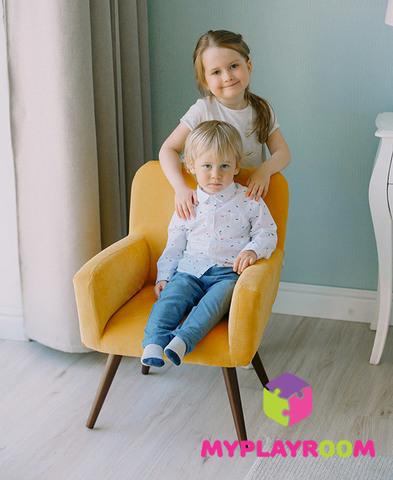 Детское мягкое кресло в стиле 60-х, медовый 2