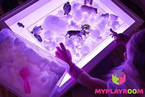 Световая песочница для LEGO от MYPLAYROOM™ с короткой столешницей 7в1 (открытый пенал) 13